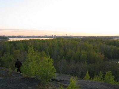 Alkukesän vehreyttä illan hämärässä Herttoniemessä