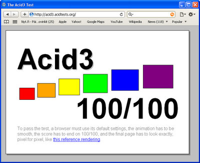 safari 4 ja acid3 testi