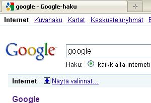 google internet näytä valinnat