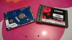 Vanha 7200 rpm ja uusi SSD kovalevy