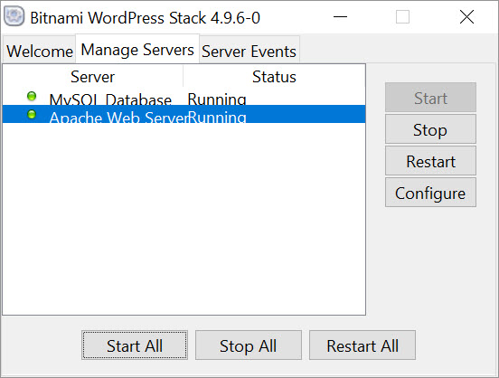 Bitnami WordPress Stack - server control panel