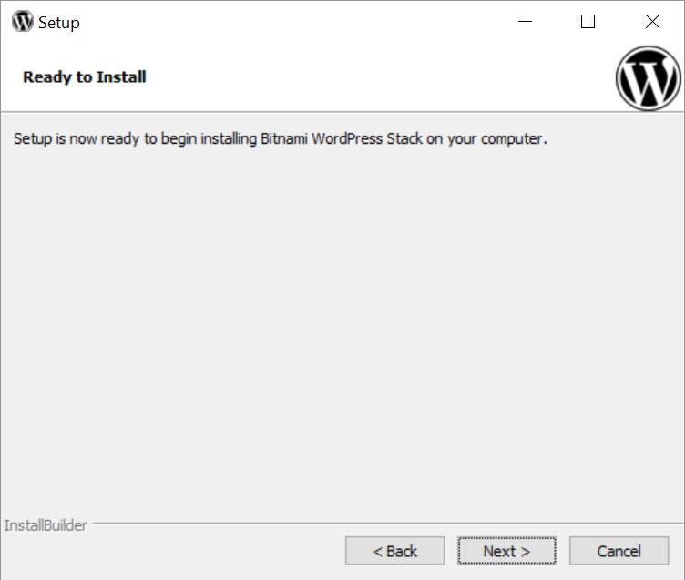 Bitnami WordPress Stack - asennus alkaa
