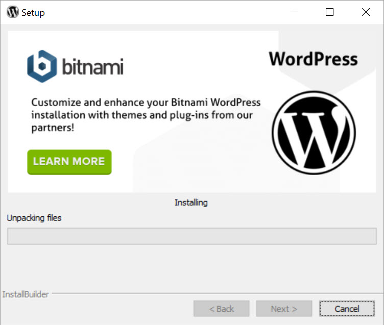 Bitnami WordPress Stack - asennus etenee